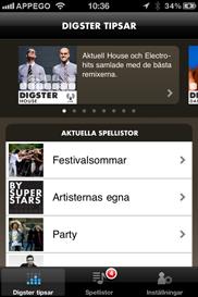 Digster iPhone app - Skärm 2 (utvecklad av Appego)