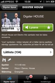 Digster iPhone app - Skärm 3 (utvecklad av Appego)