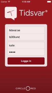 Tidsvar for iPhone app - Skärm 1 (utvecklad av Appego)