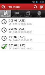 Tidsvar for Android app - Skärm 2 (utvecklad av Appego)