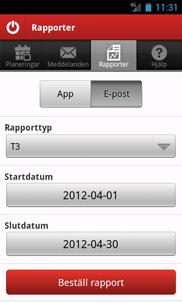 Tidsvar for Android app - Skärm 3 (utvecklad av Appego)
