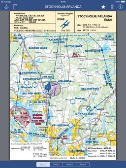 Swedish Airfields for iPad app - Skärm 1 (utvecklad av Appego)