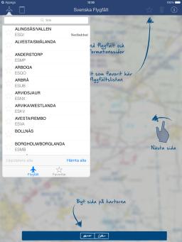 Svenska Flygfält för iPad app - Skärm 2 (utvecklad av Appego)
