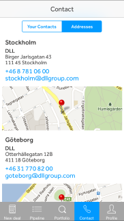 DLL Finance iPhone app - Skärm 3 (utvecklad av Appego)