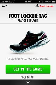 Foot Locker Tag iPhone app - Skärm 1 (utvecklad av Appego)