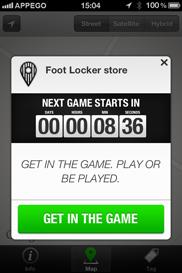 Foot Locker Tag iPhone app - Skärm 3 (utvecklad av Appego)