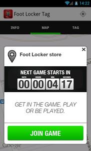 Foot Locker Tag Android app - Skärm 3 (utvecklad av Appego)