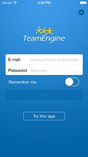 TeamEngine för iPhone app - Skärm 1 (utvecklad av Appego)