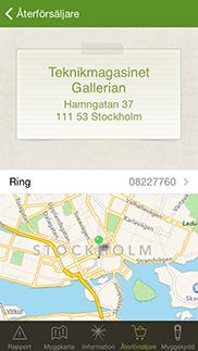 Myggrapporten iPhone app - Skärm 3 (utvecklad av Appego)