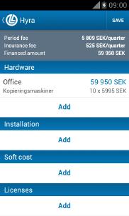 DLL Finance Android app - Skärm 2 (utvecklad av Appego)