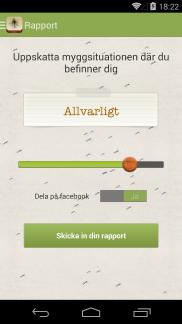 Myggrapporten Android app - Skärm 2 (utvecklad av Appego)
