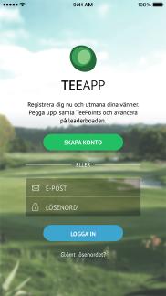 TeeApp  app - Skärm 1 (utvecklad av Appego)